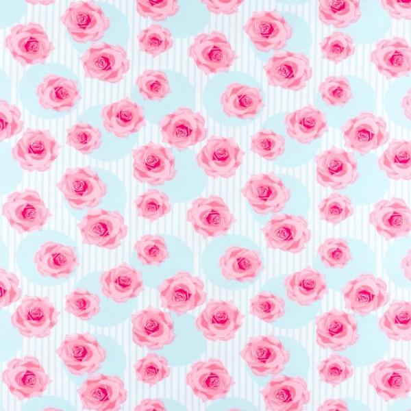 Jersey Bedruckt Rose im Streifen Mint