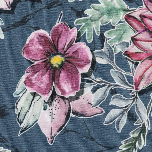 Jersey Baumwolle Blumen, jeansblau