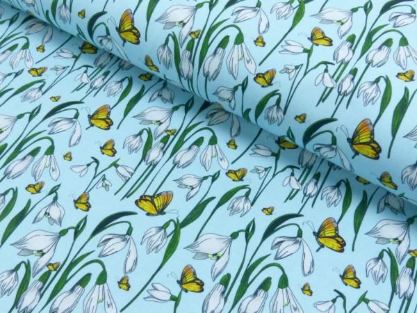 Jersey Baumwolle Druck Schneeglöckchen himmelblau