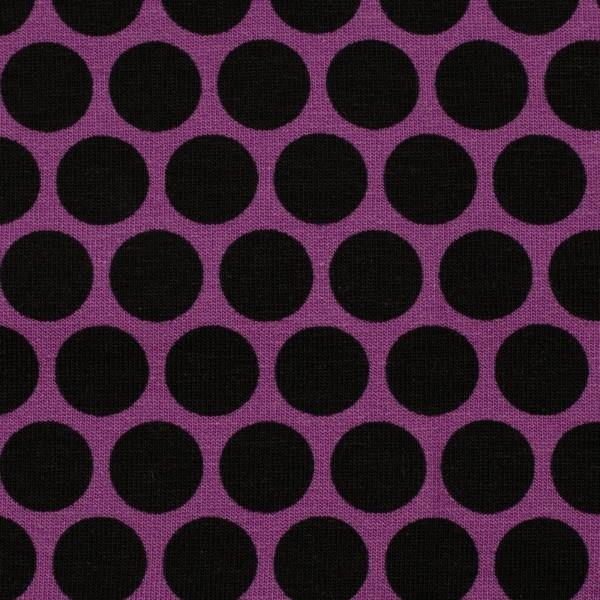 Sweat unangeraut, Punkte, lila/schwarz