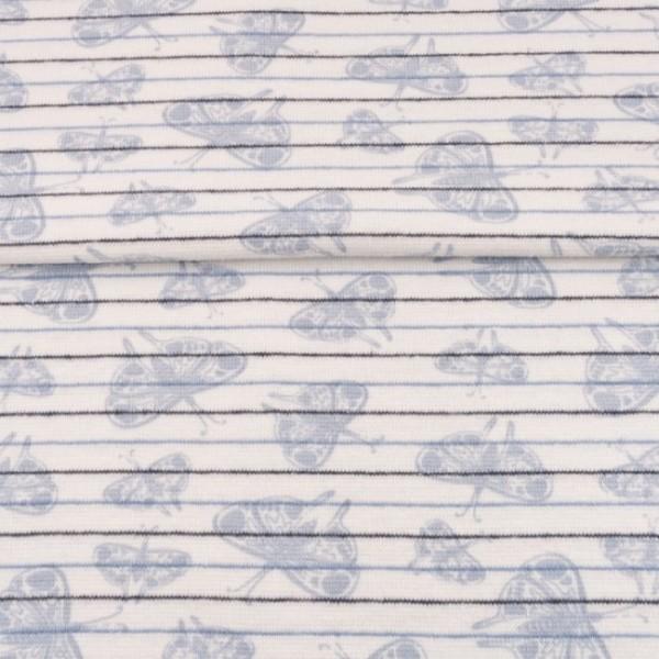Bündchen blau getreift mit Schmetterlingen hellblau