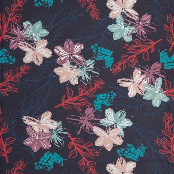 Baumwolle Webware, Blumen, Frösche, dunkelblau
