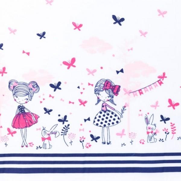 Baumwollstoff - Bedruckt mit Mädchen und Schmetterlingen