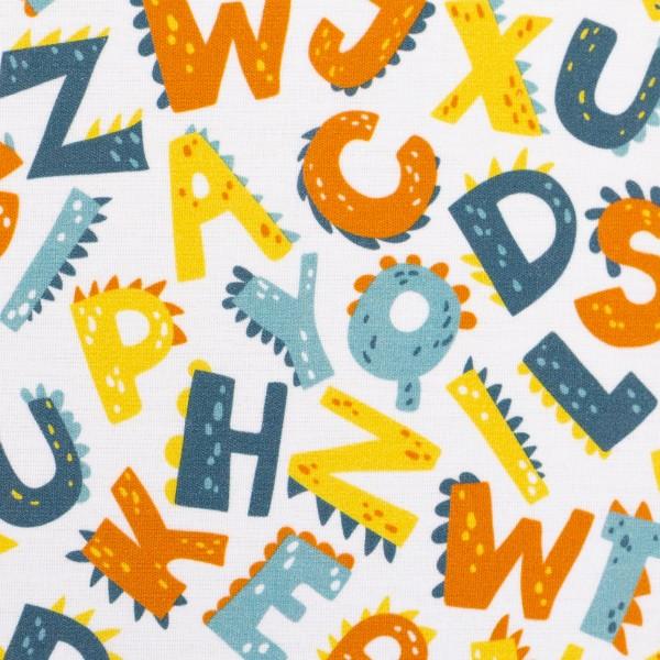 Baumwolle Webware Buchstaben, weiß