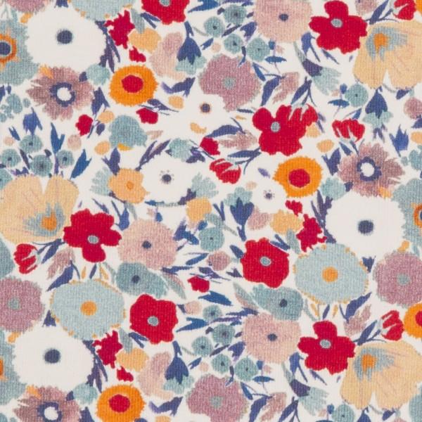 Suri, Jersey Baumwolle, Blumen, naturweiß