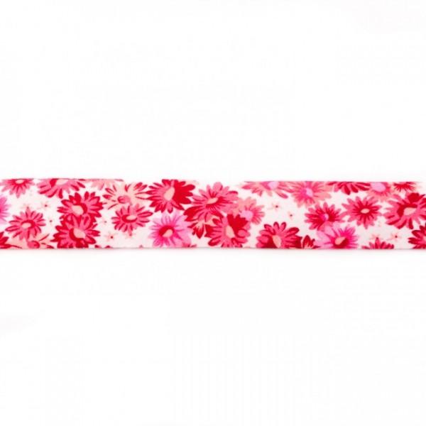 Einfassband Bedruckt Blümchen Pink-Rosa