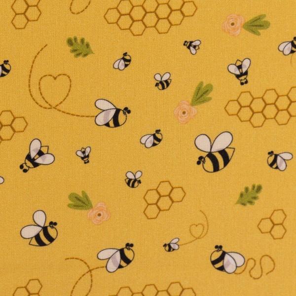 Baumwolle Webware Bienen, goldgelb