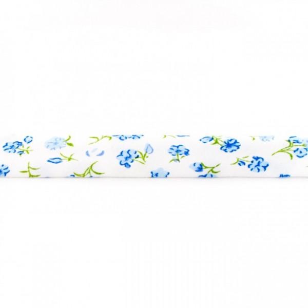 Einfassband Bedruckt Blume Blau
