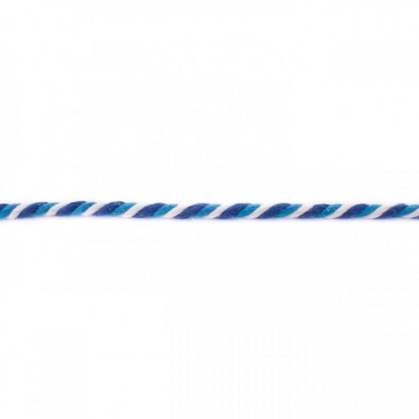 Multicolor gedreht Kordel 6mm - Aqua-Kobalt