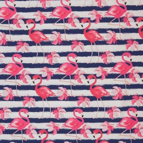 Jersey Flamingo klein, streifen, blau