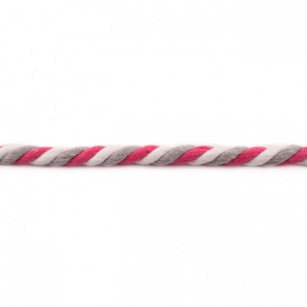 Dicke Baumwollkordel gedreht - Pink, Weiß u. Grau