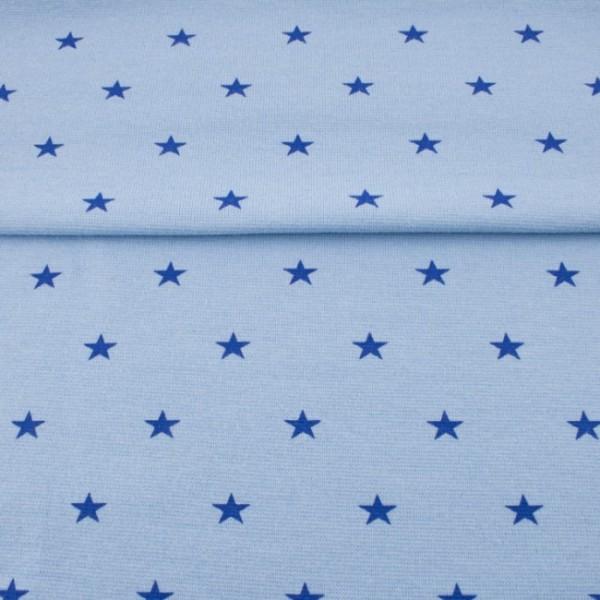 Bündchen hellblau mit Sternen blau