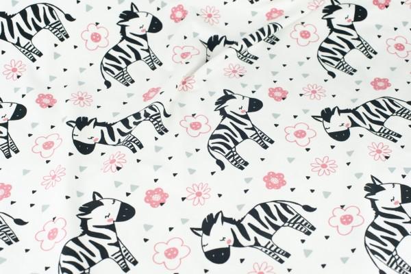 Jersey weiß bedruckt mit Zebras und Blumen