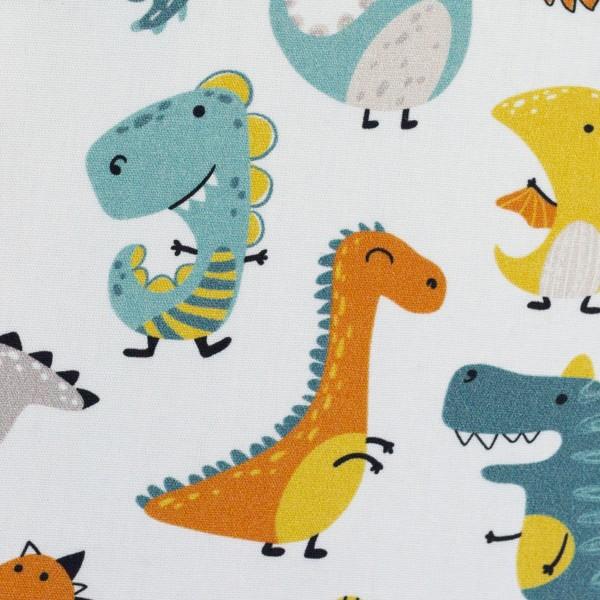 Baumwolle Webware Dinosaurier, weiß