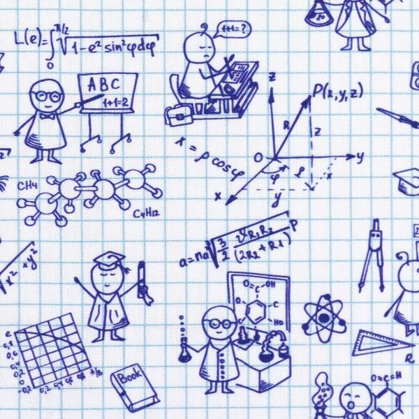 Baumwolle Webware Zeichnungen, weiß