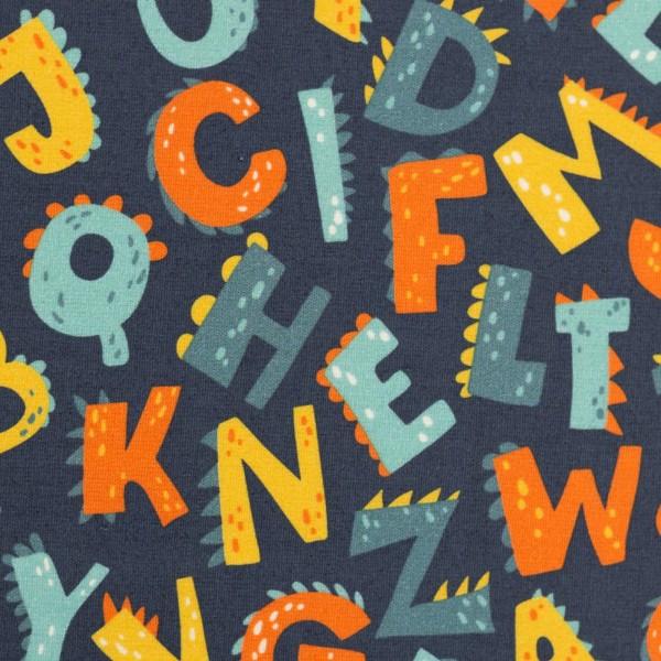 Baumwolle Webware Buchstaben, dunkelblau